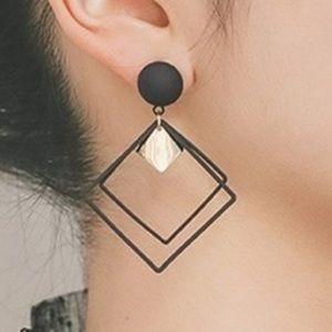 Statement Geometric Black Dangle Drop Earrings